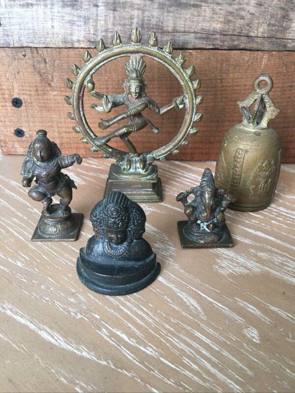 Lot Of 5 Vintage  Brass Figures Hindu Gods – Goddesses