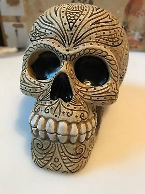 Day Of The Dead Sugar Skull Collectible Bank Bone Colored