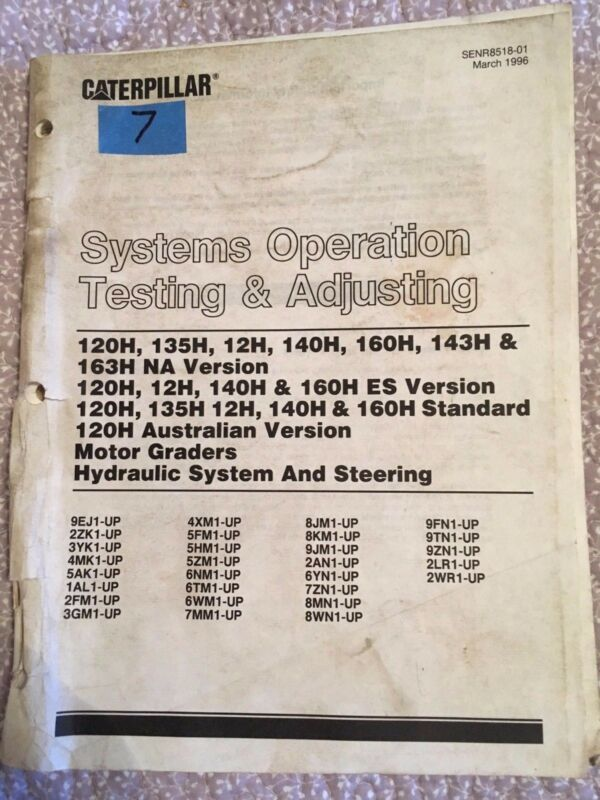Caterpillar Various Motor Graders Hydraulic System and Steering Systems Manual