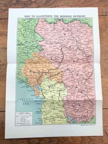 original 1918 print . map to illustrate the serbian retreat
