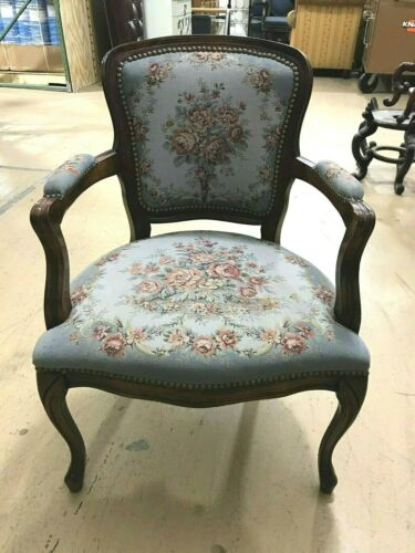 Vintage Blue Floral Upholstered Accent Chair