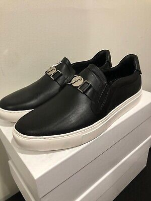 Authen. Versace Collection Casual Shoes Black Leather For Men Size 12 Retail$500