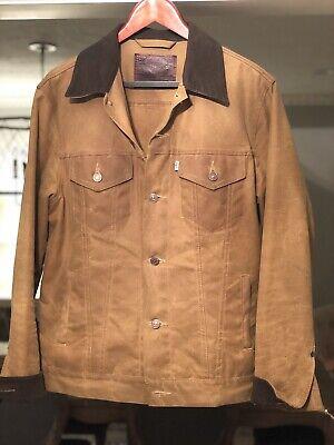 Rare Filson x Levi's Oil Finish WAXED Tin Cloth Trucker Jacket Made USA sz (Oil Finish Tin Cloth)