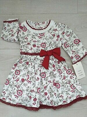 Romany Girls Spanish dress wine Floral Dress bird Ages 2 years old