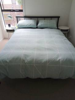 Double bed frame & mattress - barely used! + FREE bedside tables