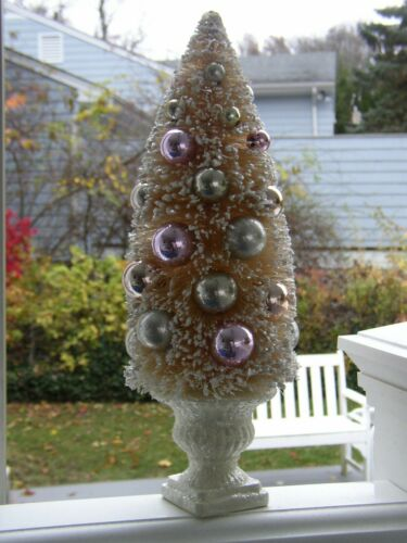 Vintage-style Cream BOTTLE BRUSH Tree Easter Pink Silver Ornament PEDESTAL URN