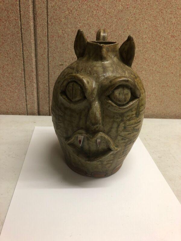 Vicki Miller, Ram Pottery, N. C. Folk Art Pottery Face Jug, Vampire??