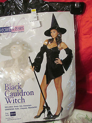 Black Cauldron Witch Halloween Costume Playful Adult Ladies Size - Cauldron Witch Adult Costume