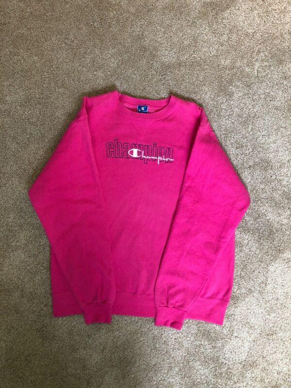 Champion Vintage 90s Womens XXL Pink Sweatshirt L Sleeve Crew Lg Logo Streetwear