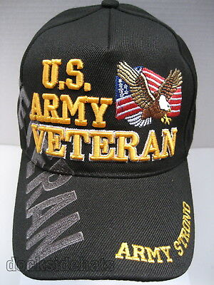 U.S. ARMY VETERAN Cap/Hat w/Flag & Eagle Free Shipping ARMY STRONG