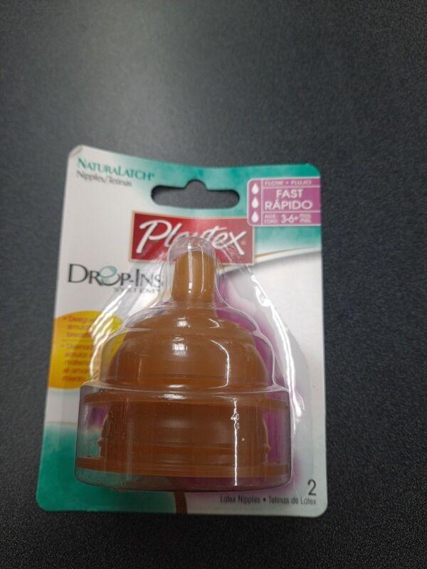 2 pack Vintage Playtex Flat Top Latex Bottle Nipples Drop Ins Fast Flow Natural