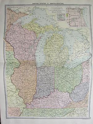 1920 LARGE MAP ~ UNITED STATES NORTH-CENTRAL CHICAGO ILLINOIS INDIANA OHIO