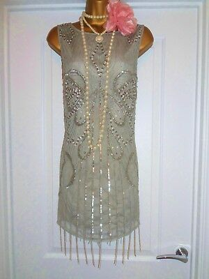 River Island 1920s Gatsby Flapper Charleston Sequin Beaded Dress Size 8 (Flapper Dress Size 8)