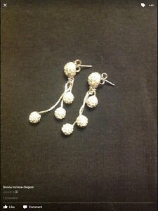 Silver earrings with rhinestones NEVER WORN.