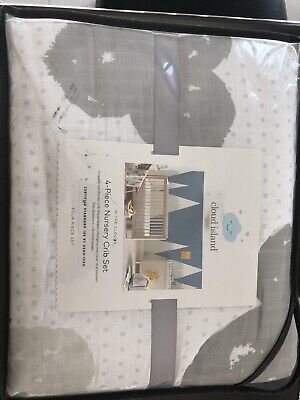 CLOUD ISLAND In the Clouds 4PC Crib Nursery Bedding Set ~ Gray Muslin Platinum