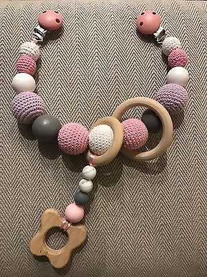 Baby Handmade Pram Clip Chain Garland Wood Crochet Shower Teether Gift Newborn