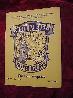 Santa Barbara Easter Relays Track & Field Meet March 31 1956 Program
