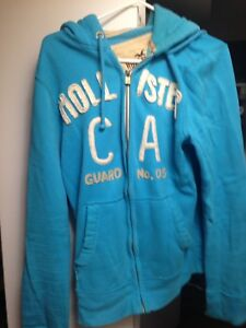 Hollister Large Zip Up Hoodie Jacket Blue men