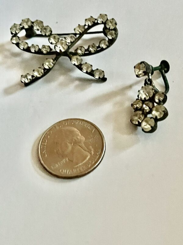 Antique Vintage DETASHED Lot of 2 Pot Metal FindIngs Settings with Paste Stones