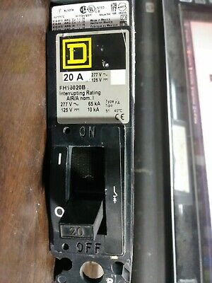 Square D Fh16020b Circuit Breaker 20 Amp 277 Volt B Phase 1 Pole New No Box