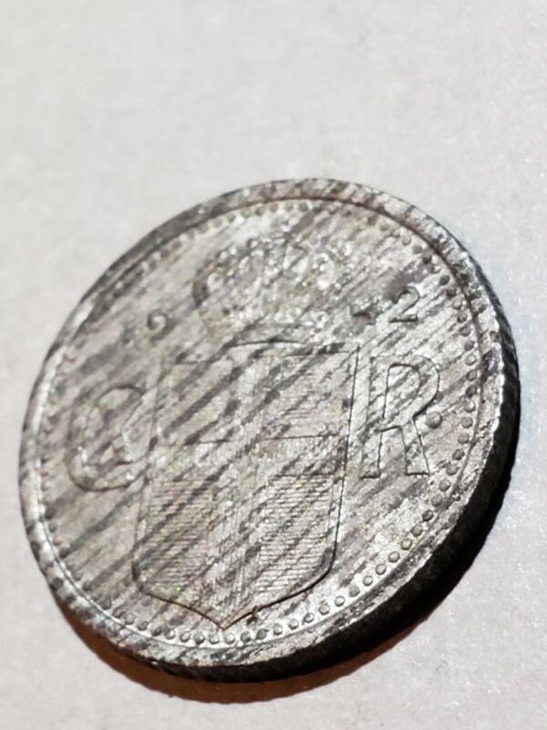 Iceland 1942 10 Aurar Decent Mid-Grade Zinc Coin #2
