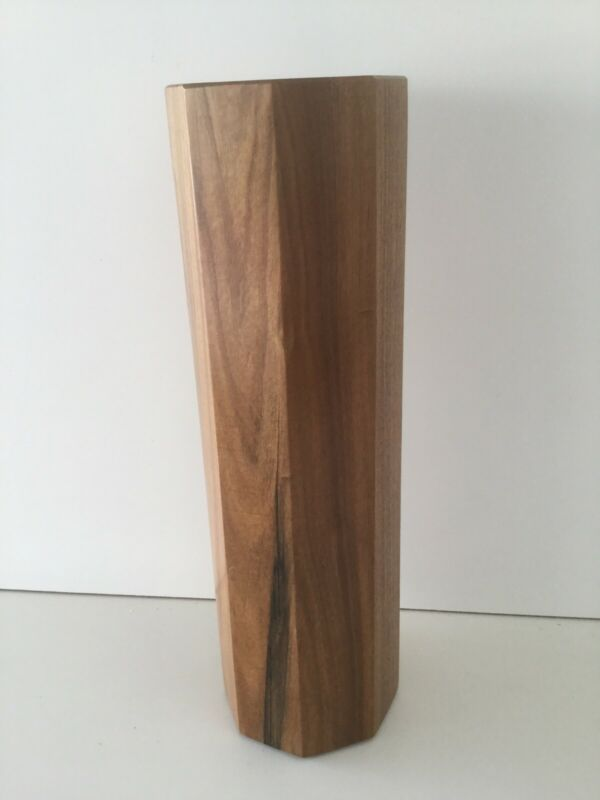 OCTAGONAL VASE IN NATURAL CHERRY WOOD HANDCRAFTED MADE