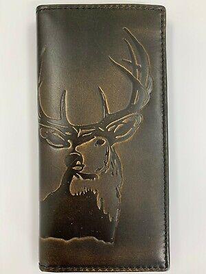 HOJ Co. Mens Long Bifold Wallet Leather, Slim Deer Hand Burnished Finish (Burnish Finish)