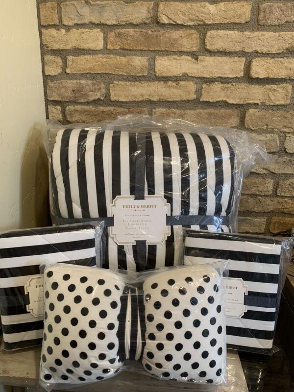 Pottery barn Teen Emily & Meritt Pirate Stripe Comforter Full Queen Quilt Shams