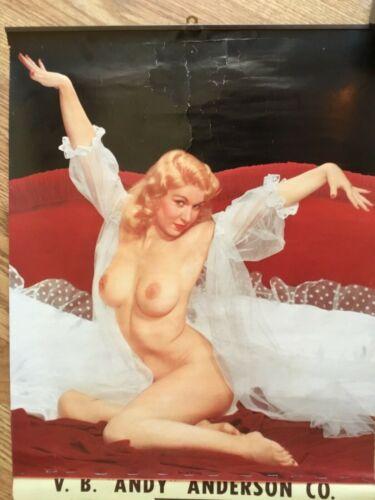 1957 Original Topless Calendar Photo PIN UP GIRL Santa Ana & Anaheim California