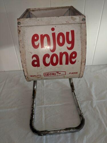 "Vintage Ice Cream Cone Store Display Tabletop Dispenser Holder ""enjoy a cone"""