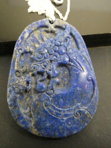 """Vintage Natural Blue Lapis Gemstone DRAGON Sterling 925 Pendant Necklace 20"""""""
