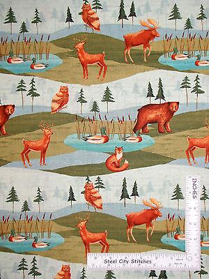Animal Duck Bear Tree Scenic Cotton Fabric #41121 Windham Wild Woods - Yard