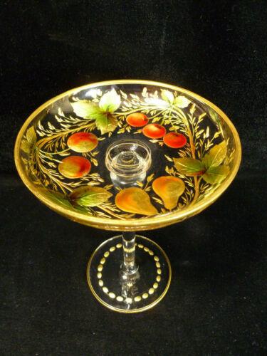 NORTHWOOD GOOFUS GLASS INTAGLIO FRUIT WREATH GILT PEDESTAL COMPOTE – CIRCA 1907
