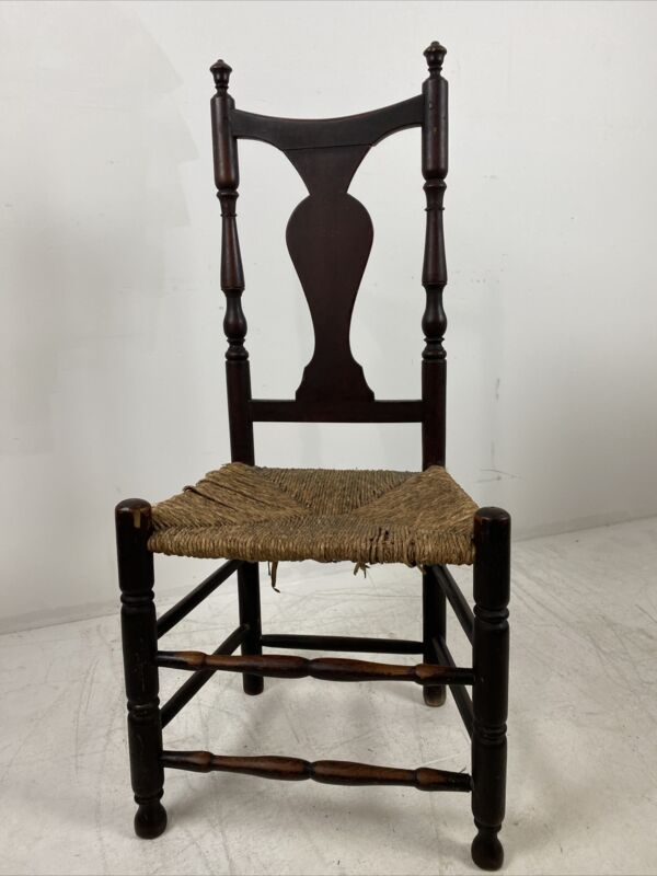 A Antique Country Queen Anne Rush Seat Side Chair Hudson Valley, NY or CT 1780's
