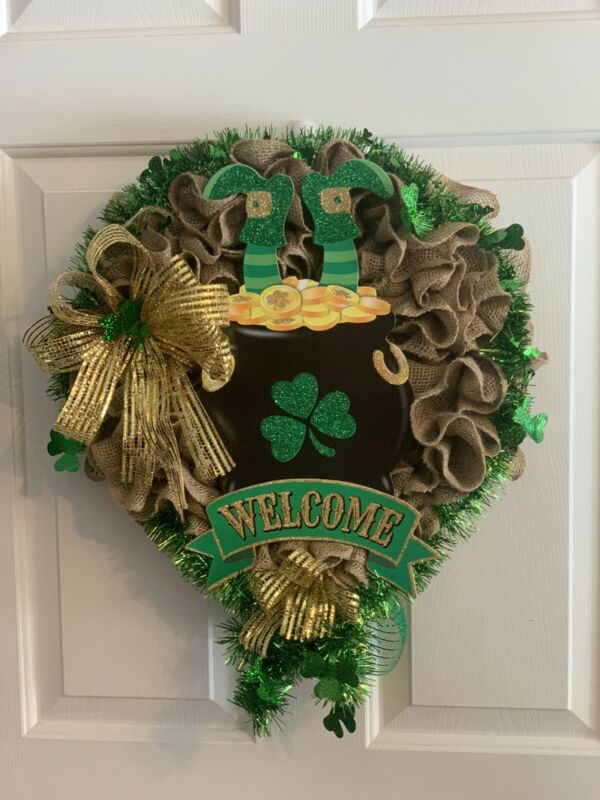 St Patrick's Day Burlap Wreath