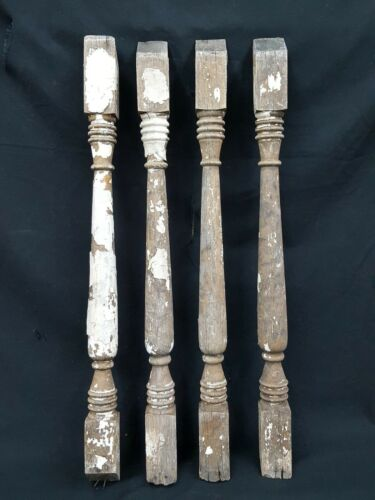Architectural Salvage 4 Wooden Spindles Balusters Double Spiral Collar Design