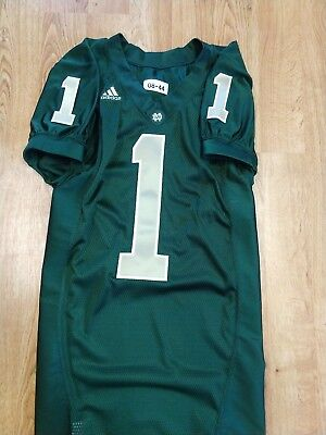 - 2008 ADIDAS TEAM ISSUED AUTHENTIC GAME NOTRE DAME FOOTBALL GREEN JERSEY #1 IRISH