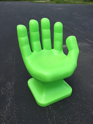 """GIANT Neon/Lime Green HAND SHAPED CHAIR 32"""" adult 70's Retro EAMES iCarly NEW"""