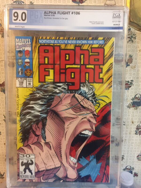 Alpha Flight #106  PGX 9.0 VF/NM (NORTHSTAR COMES OUT..THE WALKING WOUNDED