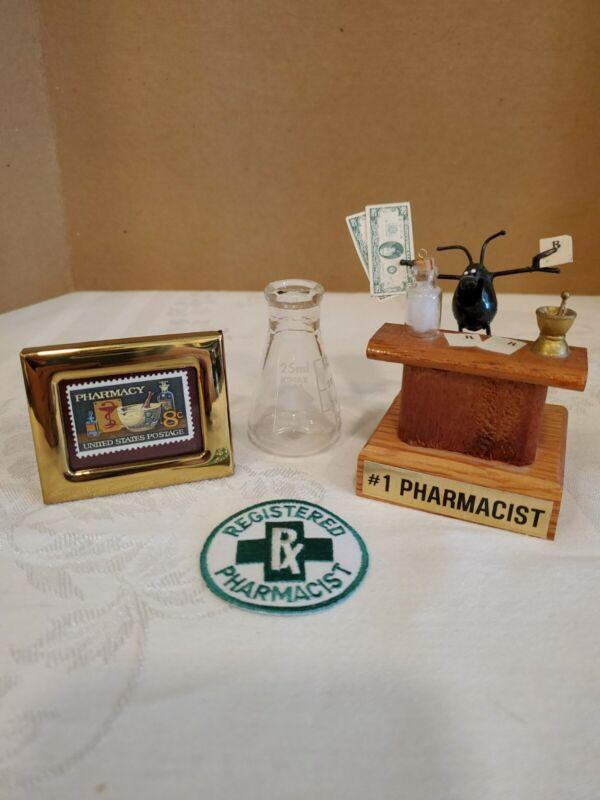 Lot Vintage Pharmacist Items, Framed Stamp Patch Small Beaker #1 Pharmacist