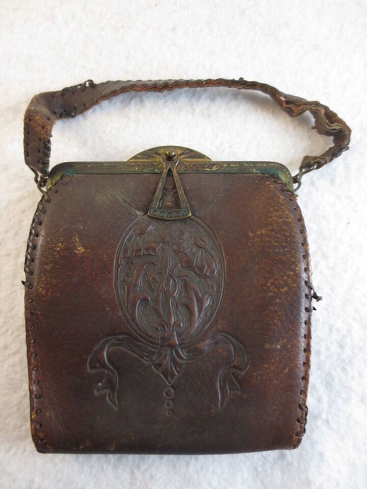 Antique Hand Tooled Leather Ladies Purse With Brass Locking Closure Pat'd 1915