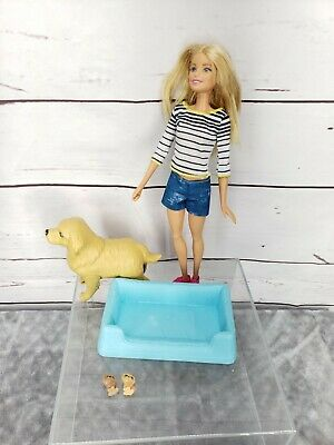Barbie and Pregnant Dog Taffy With Bed 2 puppies doll set