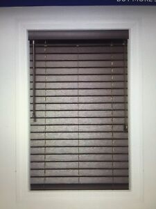 "Custom 2"" charcoal faux wood blinds from Blinds To Go"