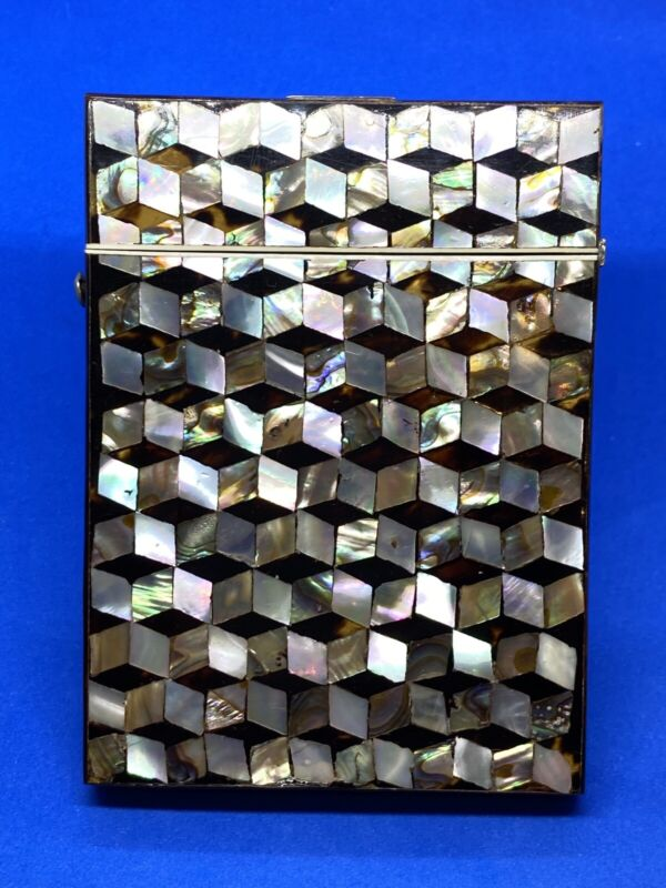 Antique Mother of Pearl, Abalone & Faux Tortoise Shell Inlay Card Case or Box