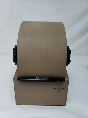 Vintage Large Tan Steel Rolodex 3500-s Metal Covered Rotary Card File No Key