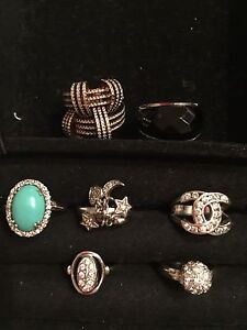 Sterling silver rings size 6,5 & 7