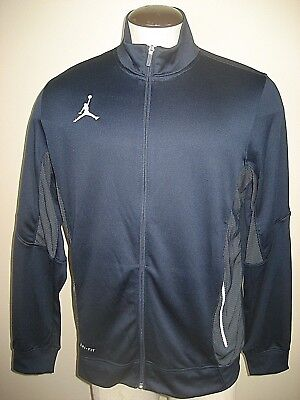 Nike Jordan Mens Flight Team Warm Up Full Zipper Dri Fit Jacket Navy Blue NWT