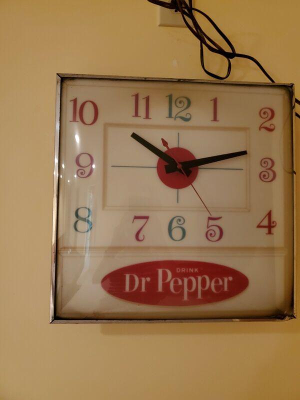"""DR PEPPER Clock Vintage,15 1/2"""" square, Works, Rare!"""
