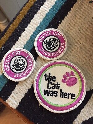 """Lot of 3 vintage Arctic Cat snowmobile vintage round patches """"THE CAT WAS HERE"""""""