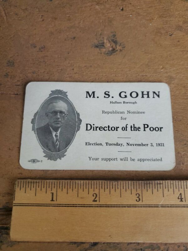 Rare York City 1931 Director Of the Poor Election Card M.S. Gohn